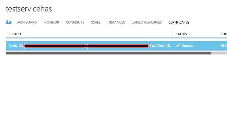 Certificates list in Azure Cloud Service