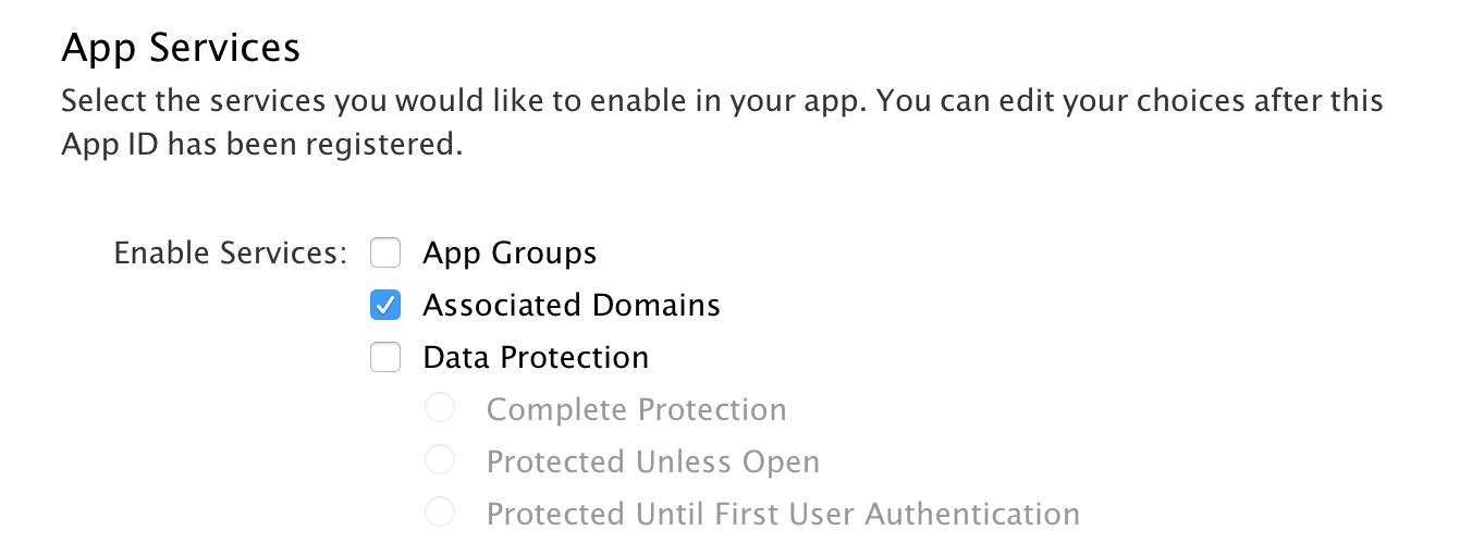 Enable Associated Domains in your App Identifier settings - Apple Dev Portal