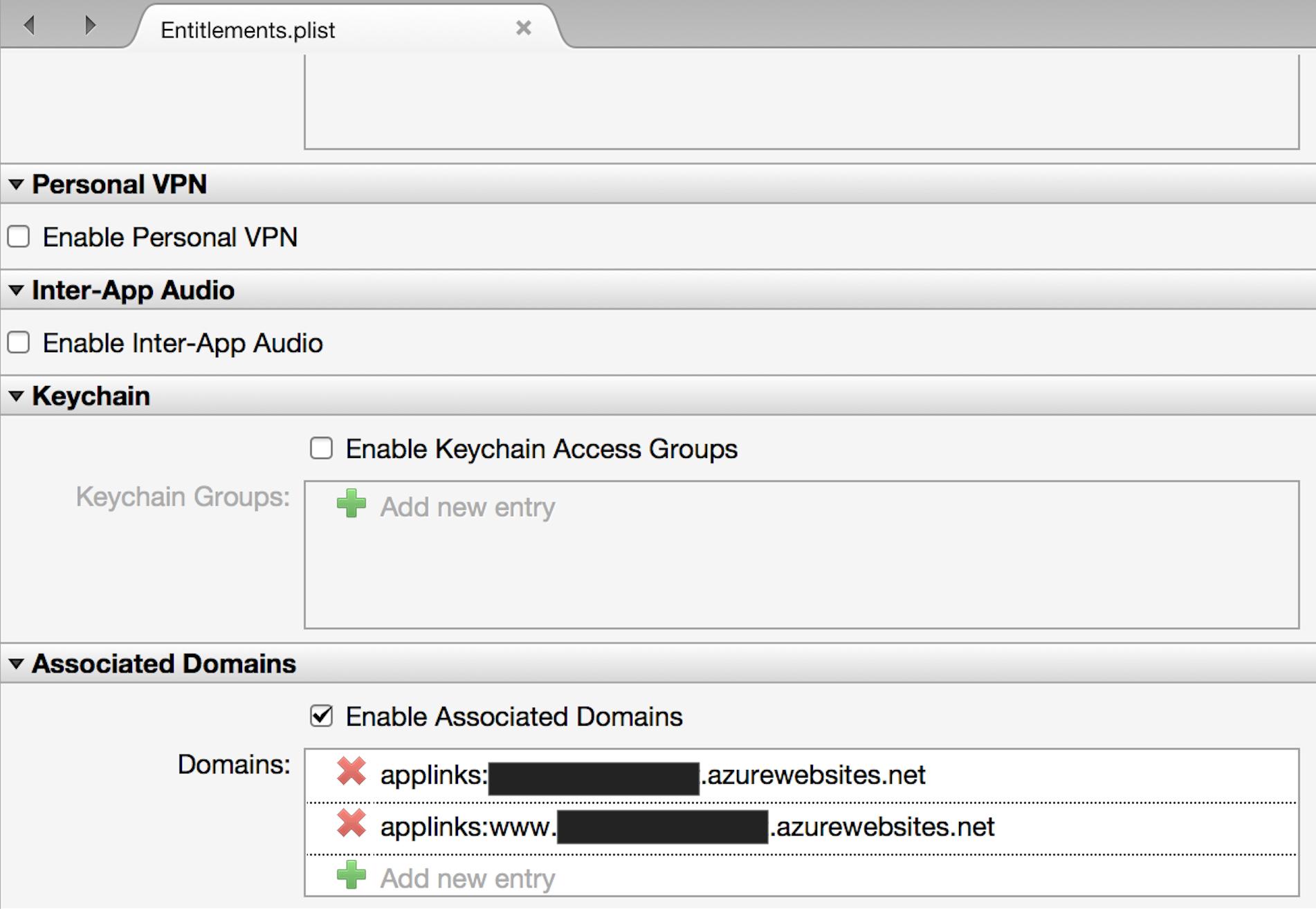 Applinks in Entitlments-plist file